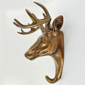 Deer Head Coat Hook Decorative Wall Accessory Antique Bronze Finish 23cm