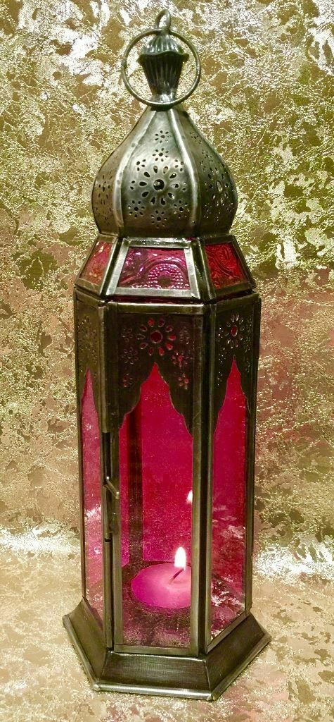 Moroccan Style Lantern Brass Antique Pink Glass Tea Light Candle Holder