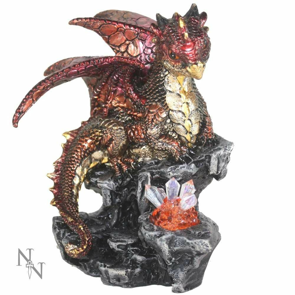 Nemesis Now Amber Dragon Guardian Figurine Ornament Figure Led Light 16cm