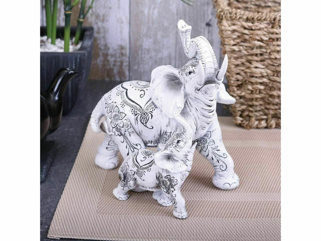 Henna Happiness Elephant & Calf Figurine Sculpture Animal Statue Ornament 17cm