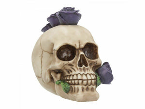 Purple Rosehawk Romantic Gothic Skull Figurine Ornament