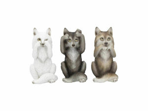Three Wise Wolves Comical Figurine Sculptures Wolf Figure Ornament 10cm