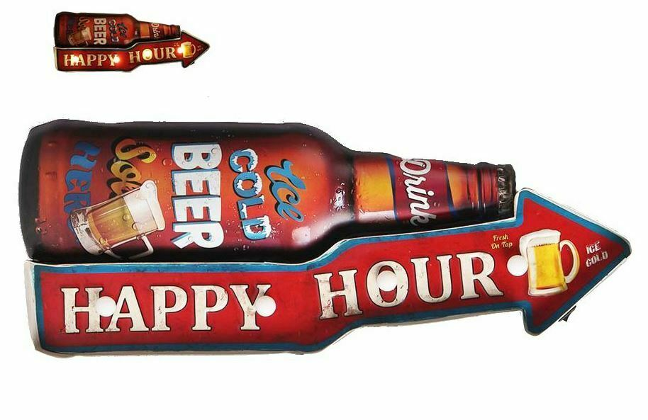 Vintage Metal 3D LED Logo Sign Pub Man Cave Wall Beer Lager Plaque Decoration