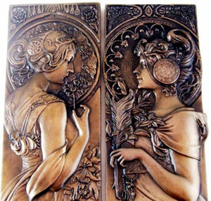 PAIR - Mucha Style Bronze Wall Plaques Art Nouveau Wall Art Sculptures