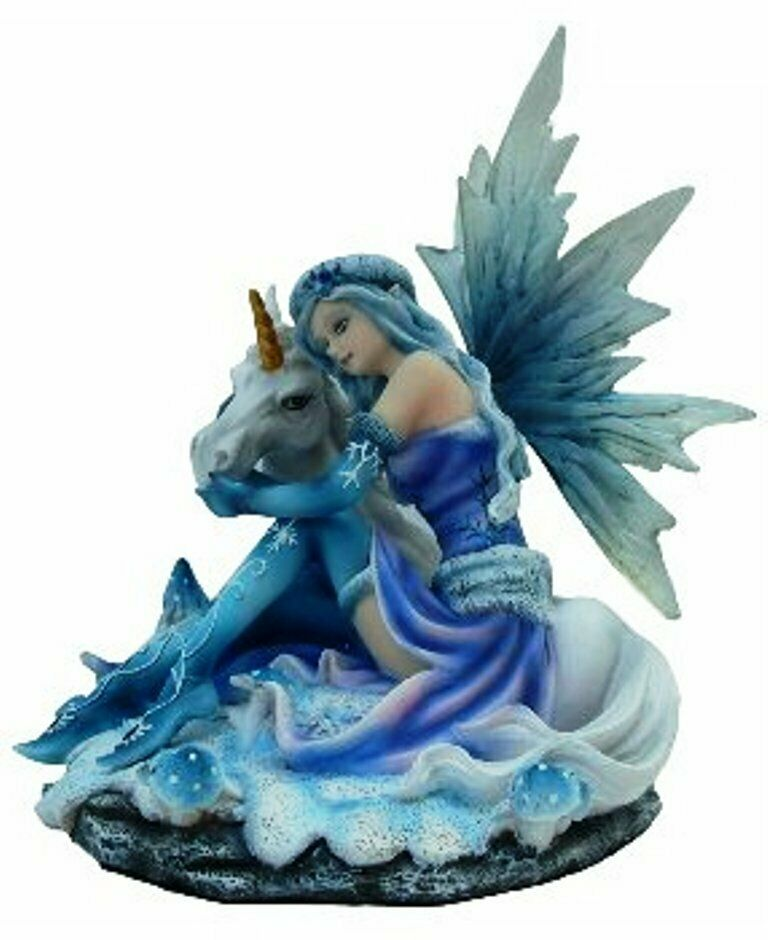 Sitting Blue Winter Fairy with Unicorn Display Figurine Statue Ornament