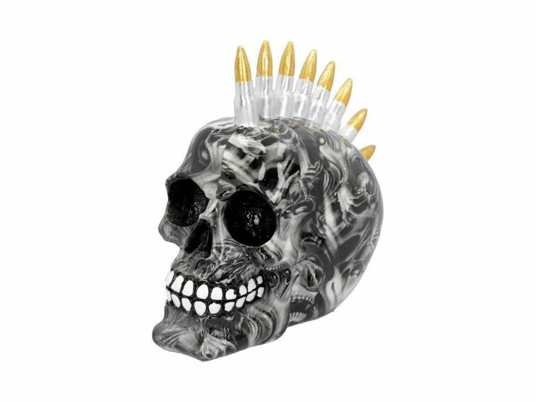 Soul Screaming Bullet Skull Figurine Gothic Sculpture Figure Ornament 18.5cm