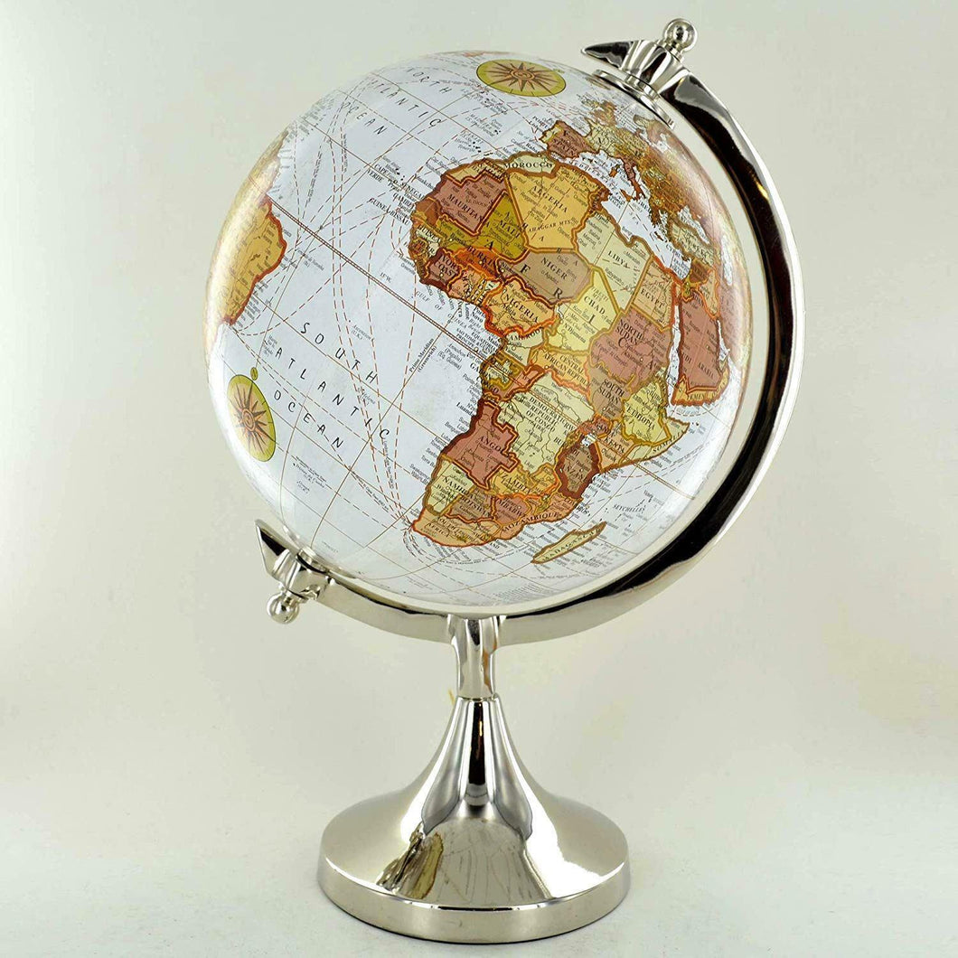 Antique Effect World Atlas Globe Ornament Vintage Globes on Stand Metal Base