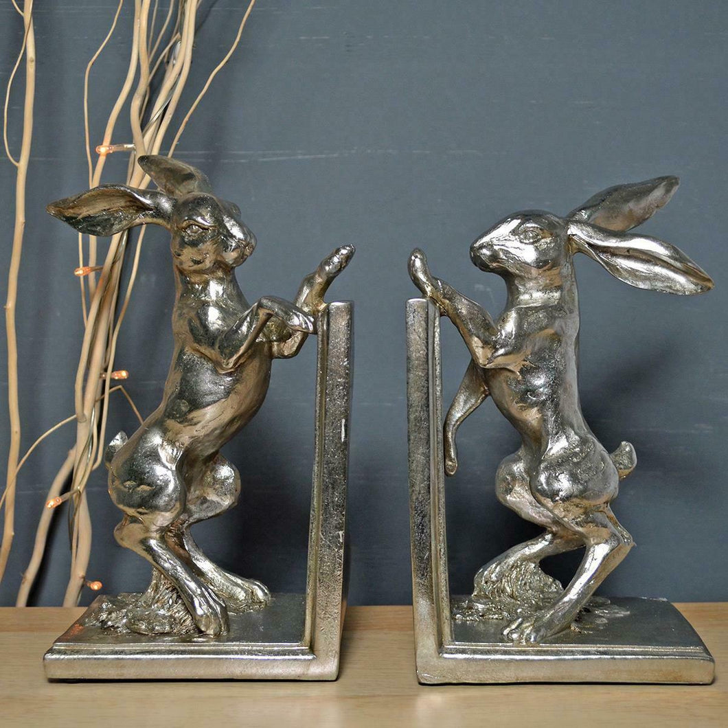 Silver Boxing Hares Office Desk Book Ends Decorative Bookshelf Organizers