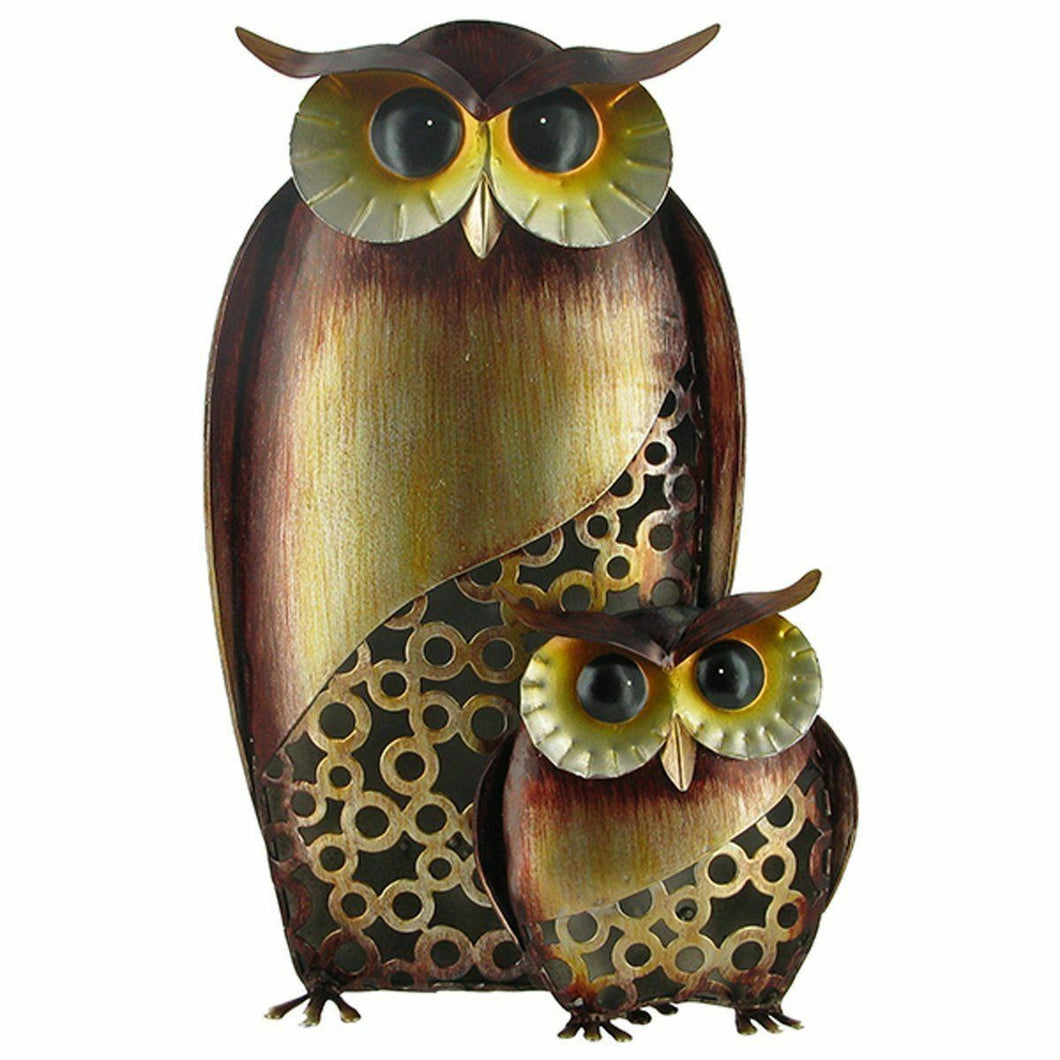 Owl Mother & Baby Owl Metal Decor Home Ornament Figure