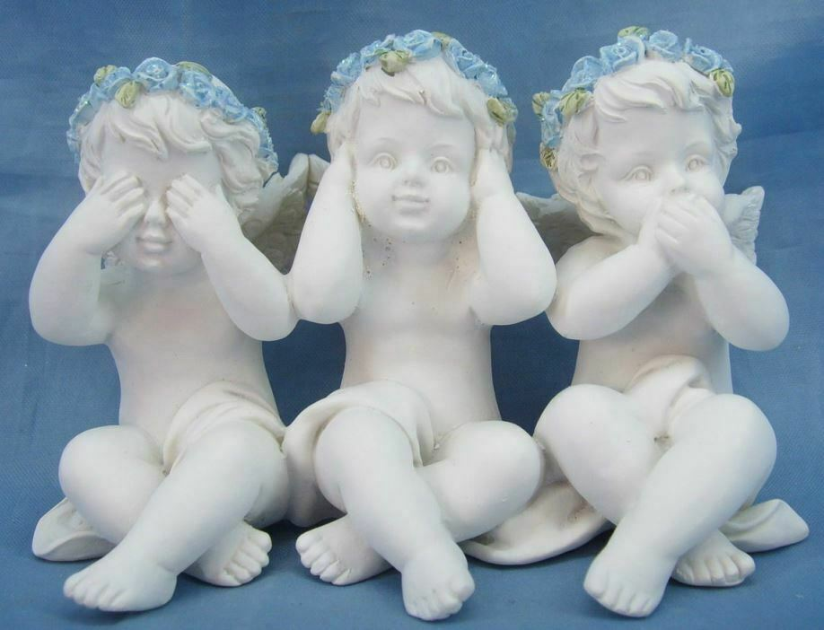 Three Wise Guardian Angel Figurine Cherubs Statue Ornament Sculpture Gift