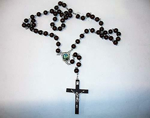 Catholic Wooden Rosary Beads Our Lady Fatima Jesus Christ Cross Religious Gift