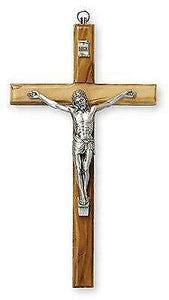 Wall Cross Olive Wood Crucifix Silver Metal Corpus Religious Gift