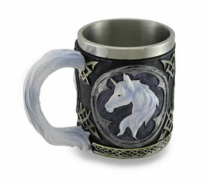 White Unicorn Drinking Tankard Tribal Coffee Cup Mug