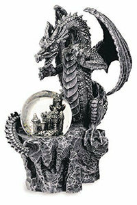 Stone Effect Dragon Guarding Castle Within Orb Figurine Statue Ornament