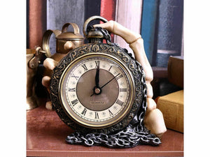 Skeleton Hand and Pocket Clock Gothic Style Ornament Sculpture 14cm