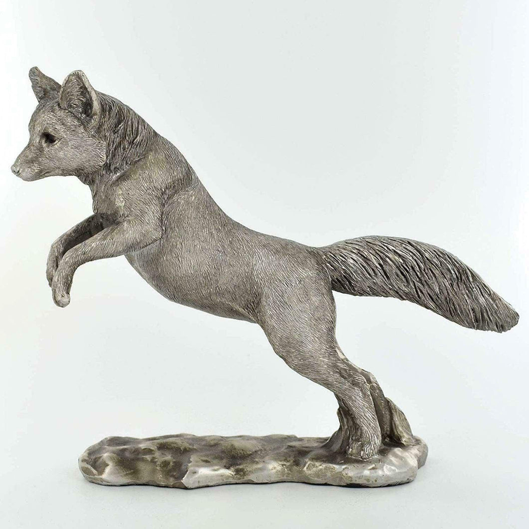 Silver Effect Jumping Fox Sculpture Statue Ornament Wild Animal Gift Idea