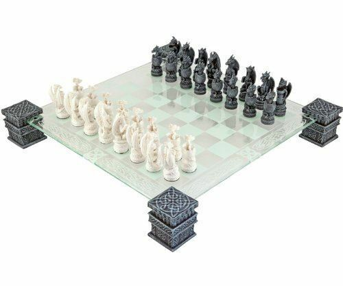 Dragon Fantasy Glass Chess Set Ornament Home Decoration or Gothic Gift