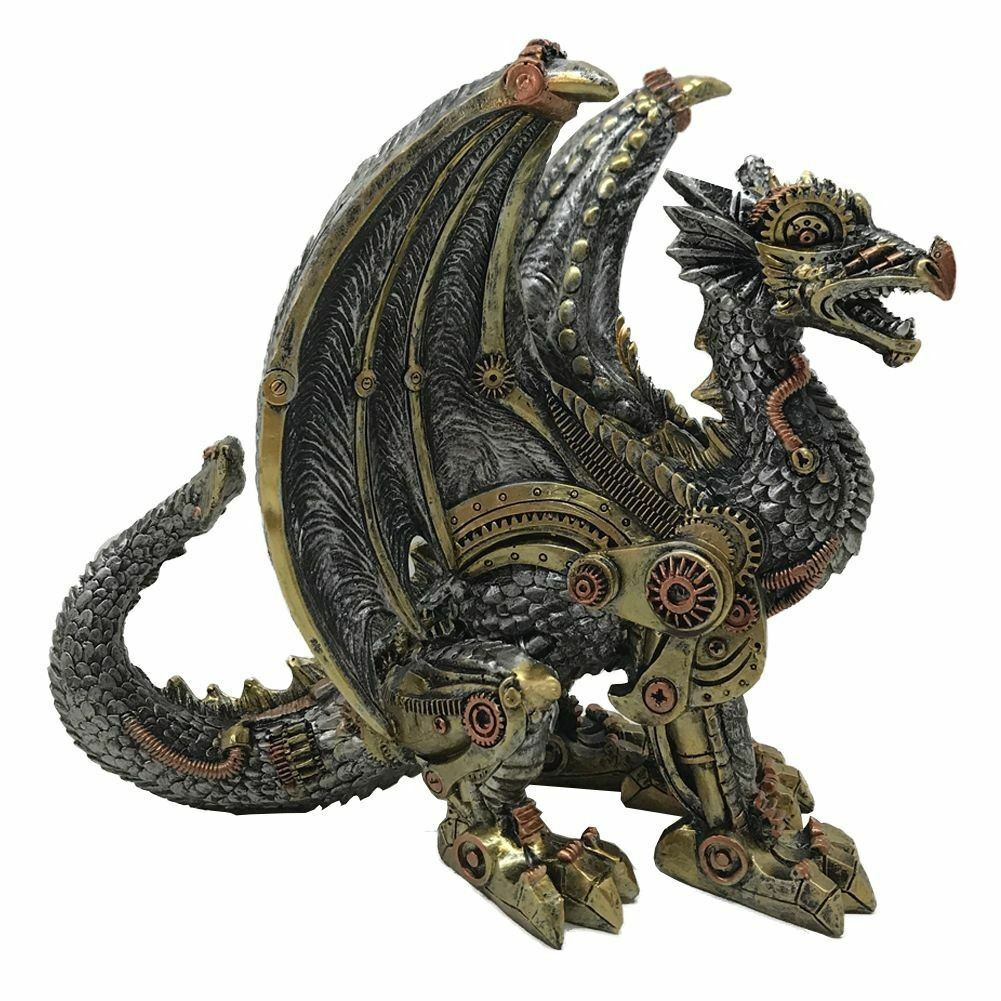 Steampunk Dragon Ornament Figurine Statue Sculpture or Gothic Gift