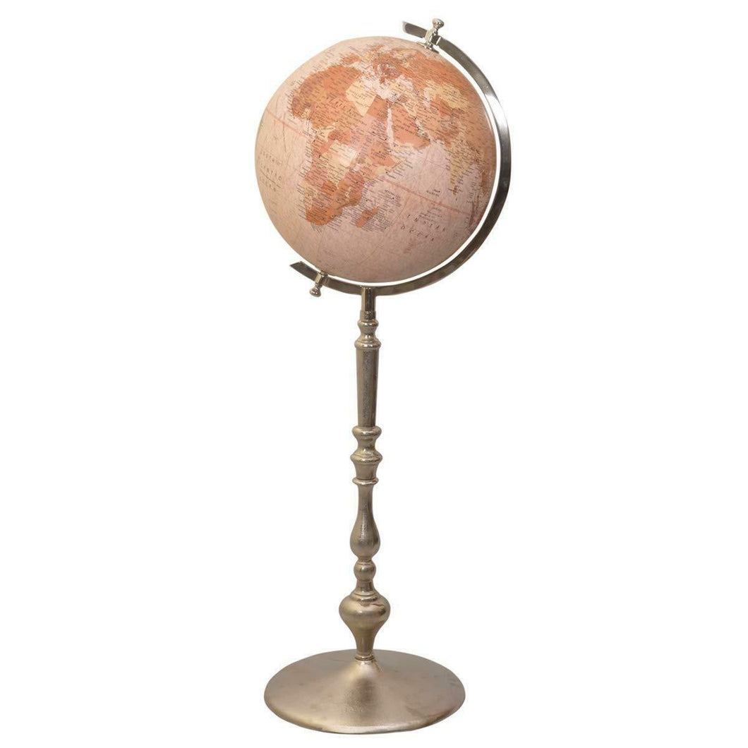 Antique Effect World Atlas Globe Ornament Vintage Globes on Metal Stand Base