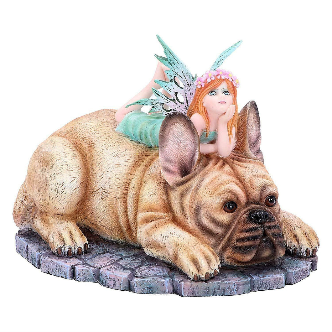 Fairy and Dog Companion Figurine Fantasy Sculpture Mythical Statue Ornament Gift
