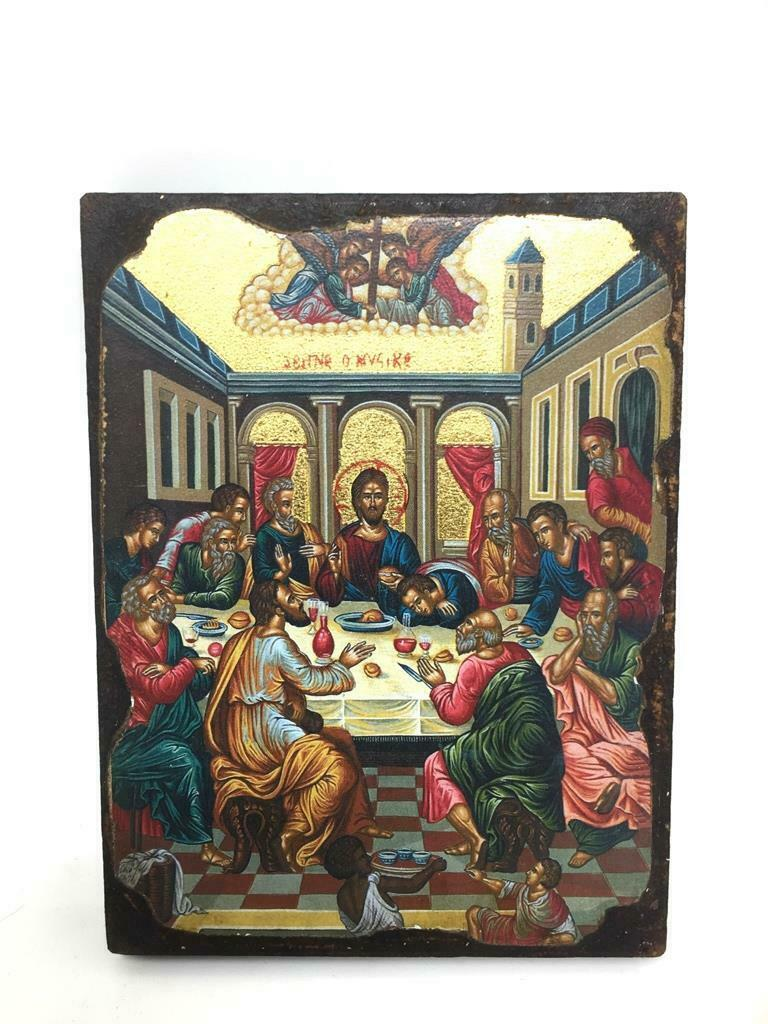 The Last Supper Jesus Christ Picture Hanging Icon Style Religious Wall Plaque