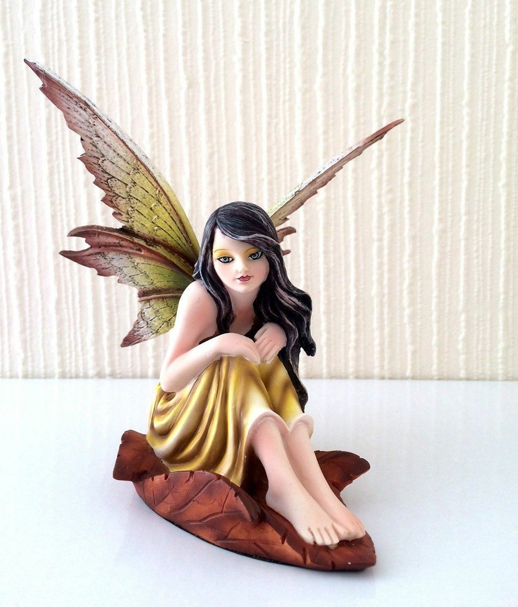 Flower Fairy Resting on Leaf Figurine Statue Ornament