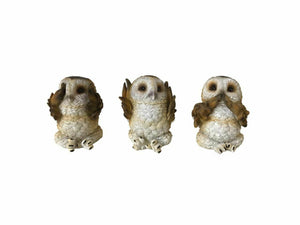 Three Wise Brown Owls Figurines Wild Life Birds Sculpture Ornaments 7.5cm