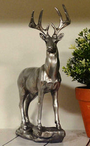 Antique Effect Silver Stag Sculpture Statue Ornament Gift
