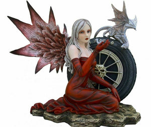 Large Dark Fairy and Dragon Companion Sculpture Statue Mythical Creatures Gift