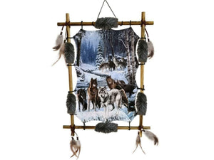 Wolves Canvas Wall Art Picture Decorative Wolf Plaque Decoration Dreamcatcher