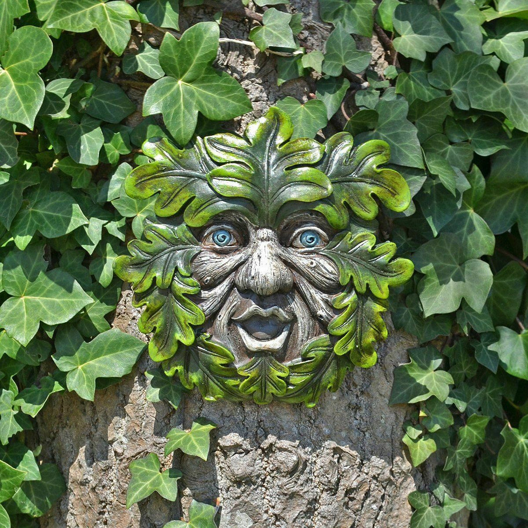Tree Ent Face Wall Plaque Garden Ornament Greenman Wiccan Pagan Sculpture