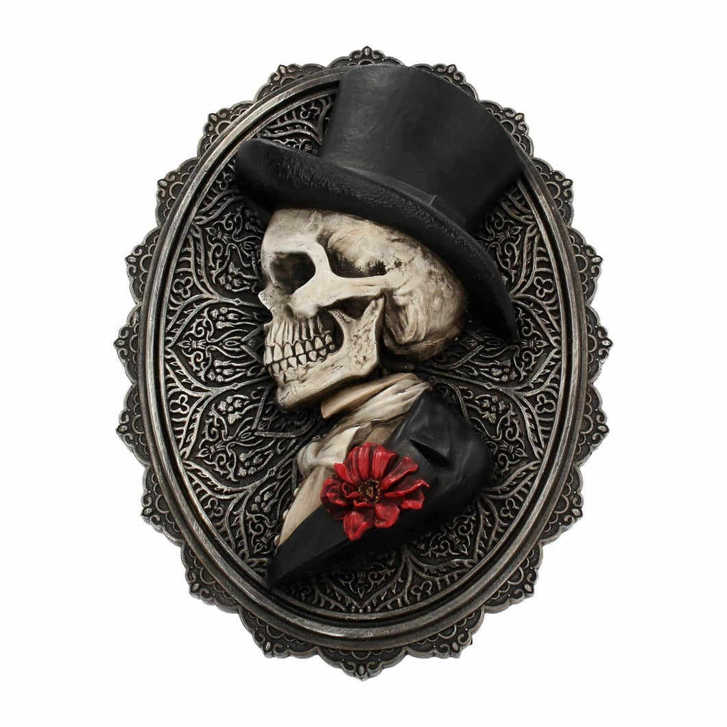 Novelty Gentleman Skeleton Wall Plaque Sculpture Gothic Skull Home Decoration