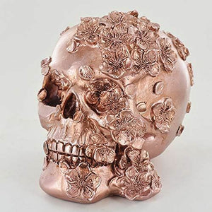 Copper Effect Skull with Flowers Ornament Gothic Study Office Decoration