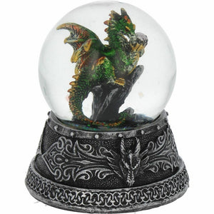Green Dragon Guardian Snow Globe Figurine Statue Ornament Glitter Snow Storm