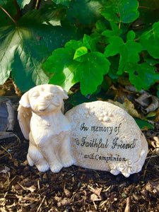 Memorial Dog Angel Statue Pet Grave Marker Tribute Ornament Sculpture