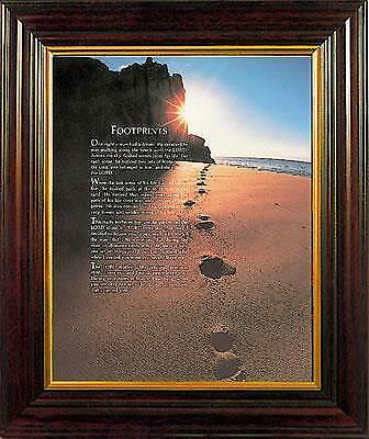 Footprints in the Sand Verse Framed Print Wood Frame Picture Mahogany Finish
