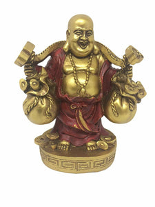 Happy Golden Buddha Coin Carrier Ornament Feng Shui Decoration Statue Figurine