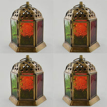 Load image into Gallery viewer, Set of Four Moroccan Style Lanterns Brass Antique Tea Light Candle Holders