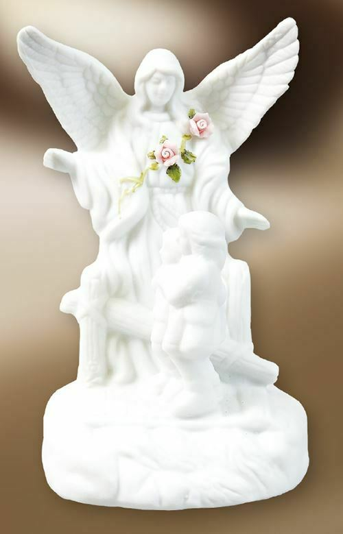Ceramic Guardian Angel Statue with Light Religious Ornament Figure