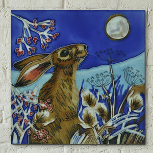 Frost Moon Hare Judith Yates 8x8 Decorative Ceramic Tile Picture Plaque Ornament
