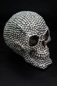 Stunning Gothic Silver Coloured Studded Skull Figure