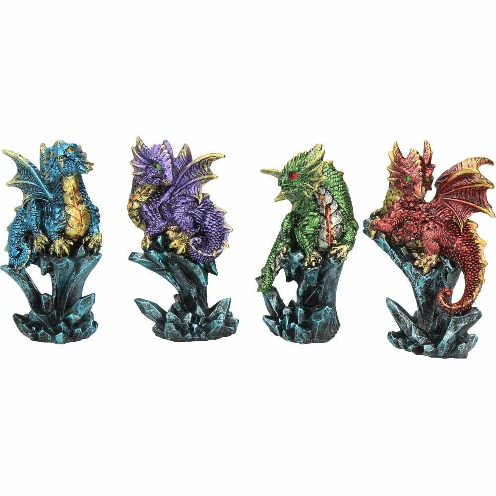 Set of 4 Gothic Dragon Figurines Ornaments Statues Home or Office Decorations