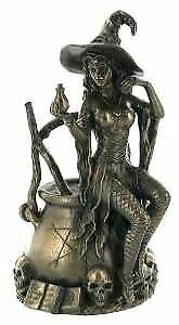 Bronze Witch Sculpture with Cauldron Witchcraft Statue Pagan Ornament