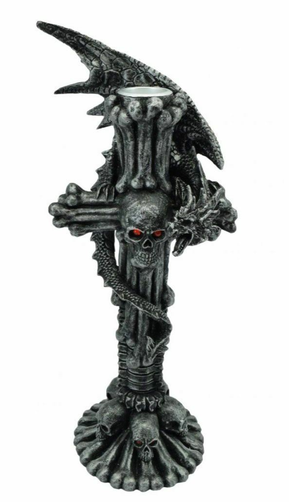 Stone Effect Dragon Wrapped Around Skull Cross Candle Holder Fantasy Art