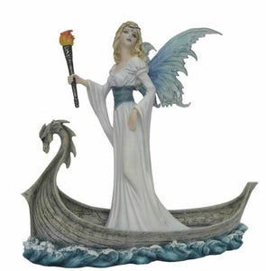 Large Viking Fairy Messenger Sculpture Statue Mythical Creatures Figure Gift