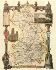 Cambridgeshire - Antique Map - Card Backed - 16X20""