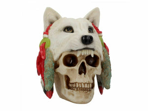 Large Native American Indian and Wolf Skull Figurine Statue Sculpture Ornament