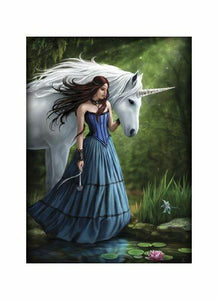 Contemplation White Unicorn and Maiden A4 Art Print Mounted on White A3 Card