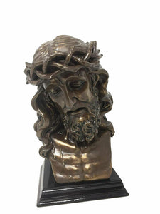 Lord Saviour Bronze Effect Bust of Jesus Ornament Statue Religious Art Sculpture