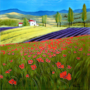 "'Field of Dreams' by Steve Thoms, 12""x12"" Decorative Ceramic Tile"